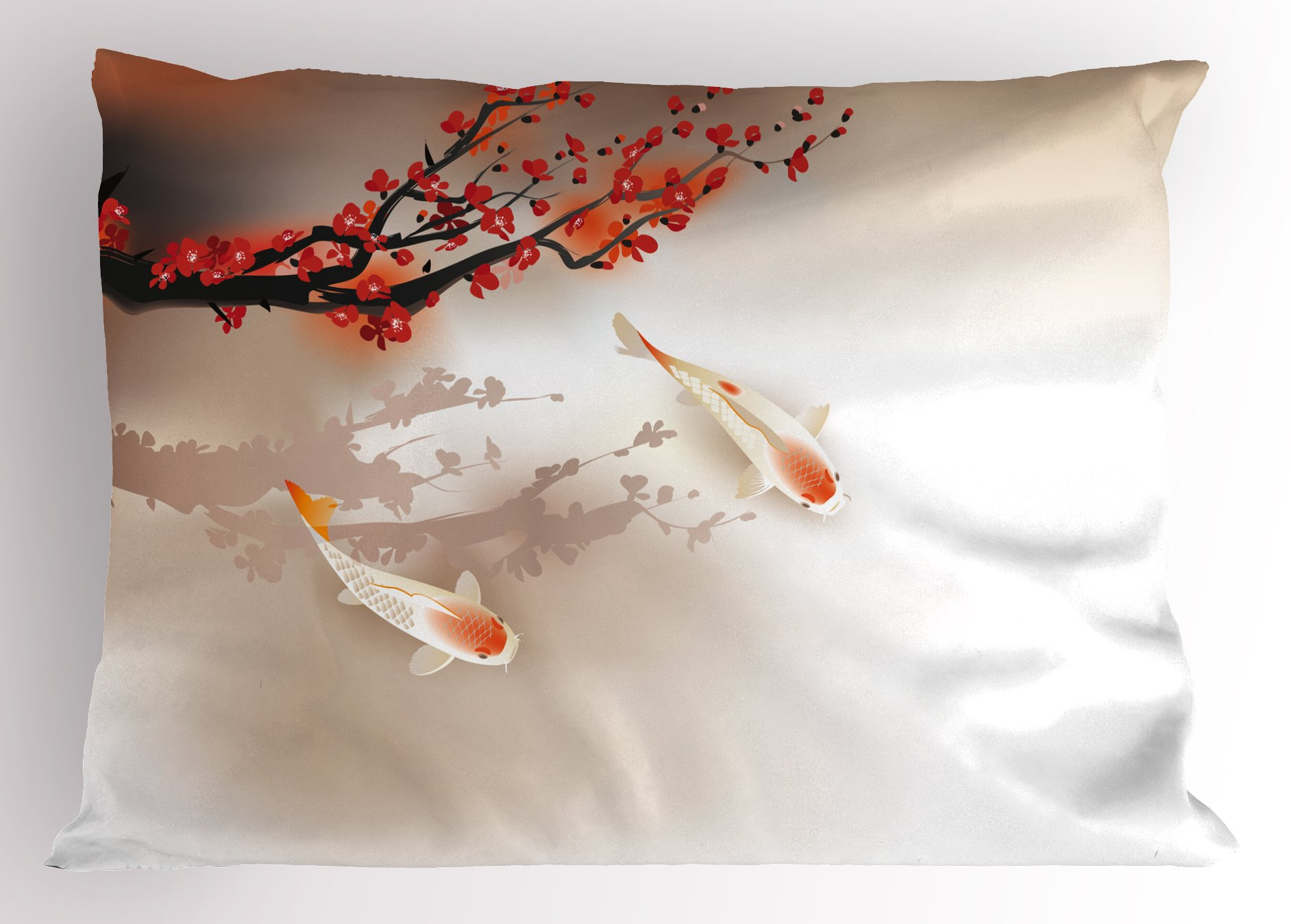 Lunarable Koi Fish Pillow Sham by, Sakura Branch and Leaves Sacred Animals in Small Body of Water Oriental Style, Decorative Standard King Size Printed Pillowcase, 36 X 20 Inches, Peach Black Red