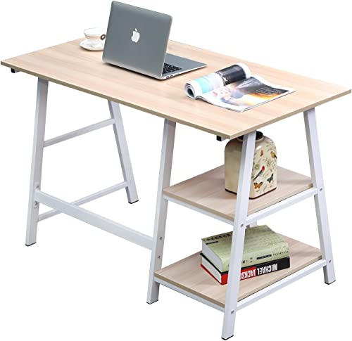 SogesPower Writing Computer Desk Trestle Desk Laptop PC Desk, Morden Vintage Home Office Sturdy Table, 55 inches White Maple