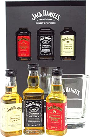 Jack Daniels - 3 x Miniatures & Branded Glass Gift Pack (Hard To ...