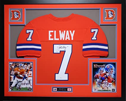 8c68a1c0674 John Elway Autographed Orange Crush Broncos Jersey - Beautifully Matted and  Framed - Hand Signed By