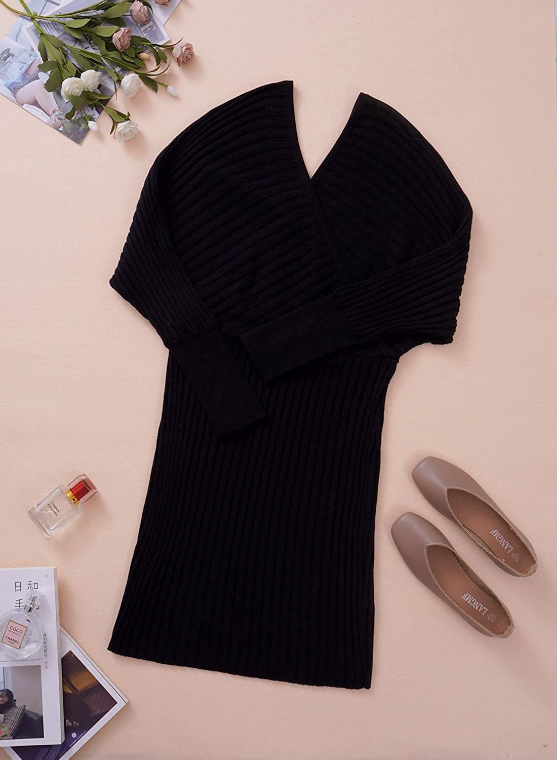 Asvivid Women's Fashion Winter Stylish Sweater Dress Solid Color Wrap V Neck Batwing Sleeves Ribbed Sweater Dress Black
