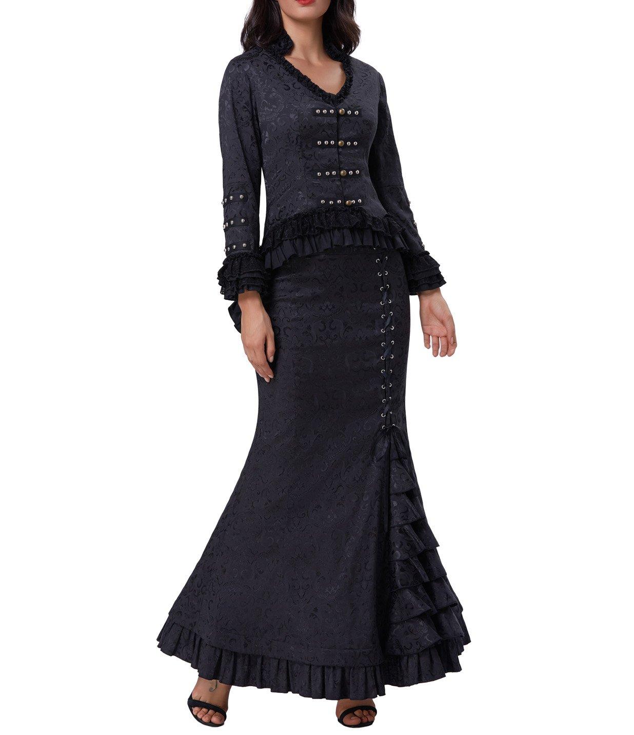 Belle Poque Womens Steampunk Victorian Mermaid Skirt High Waist Vintage Maxi Skirt BP000204