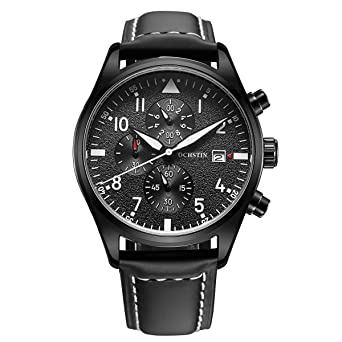 c38d03880 OCHSTIN Quartz Watch Chronograph Date Display Watch with Stainless Steel  Case Leather Band Black Dial Men