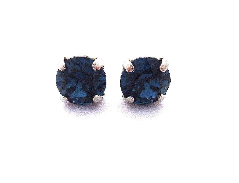 Swarovski® Crystal Earrings, 8mm Dark Navy Blue, Montana, Studs or Drops,  Assorted Finishes, Birthstone Jewelry