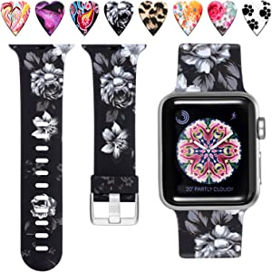 Laffav Floral Band Compatible with Apple Watch 40mm 38mm iWatch SE & Series 6 & Series 5 4 3 2 1 for Women, Gray Flower, M/L