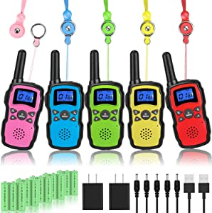 Wishouse Kids Walkie Talkies Rechargeable 5 Pack with 2 USB Chargers, Long Range Two Way Radios for Adults Family, Outdoor Camping Games Indoor Toys Birthday Xmas Gift for Boys Girls Children