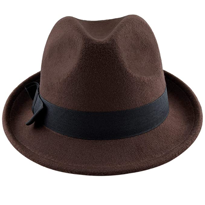 dfed8c43a726f7 Samtree Fedora Hats for Women,Winter Roll-up Brim Trilby Jazz Cap(Brown