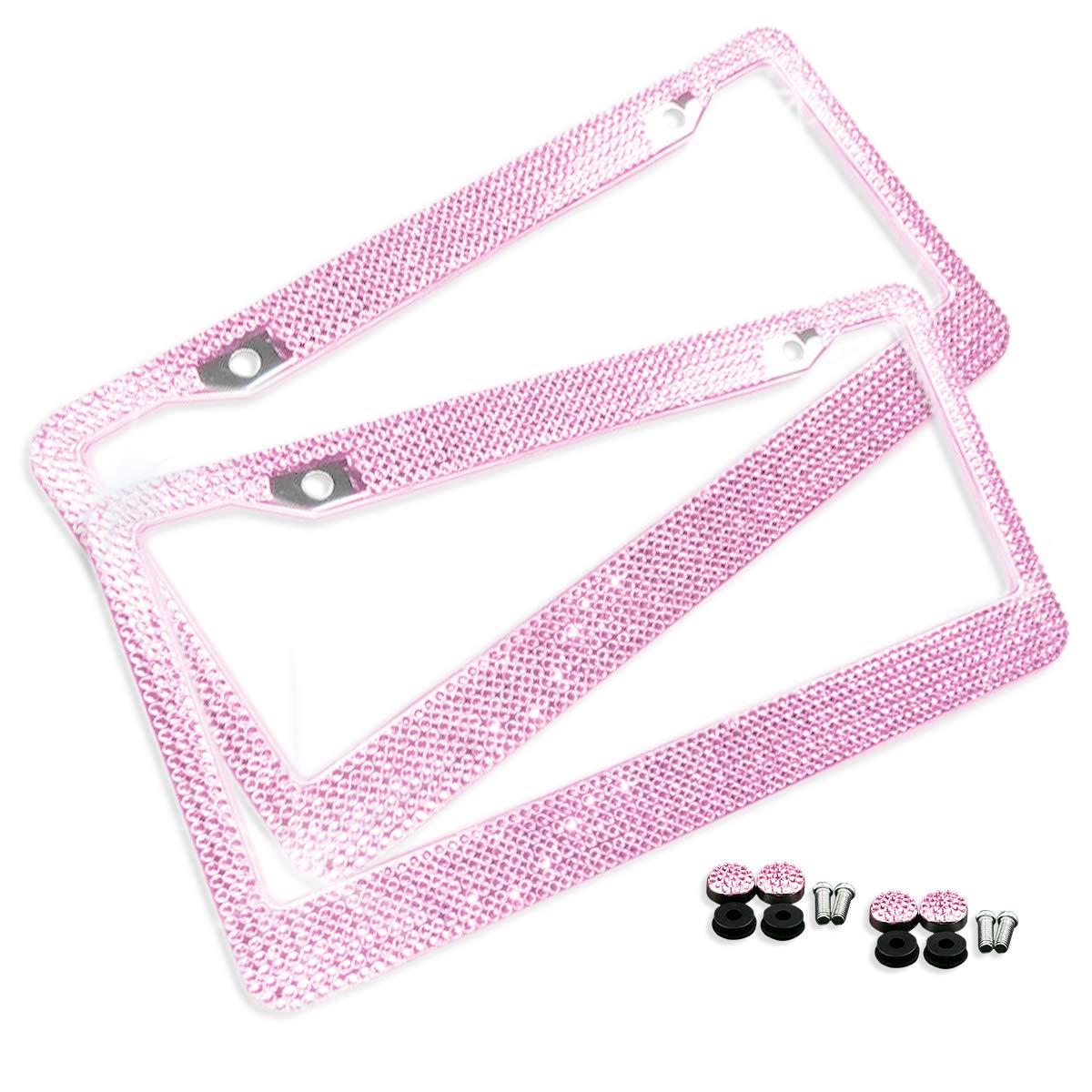 Qty 2 Pink Bling Glitter Crystal RhineStone License Plate Frame Car Truck Auto