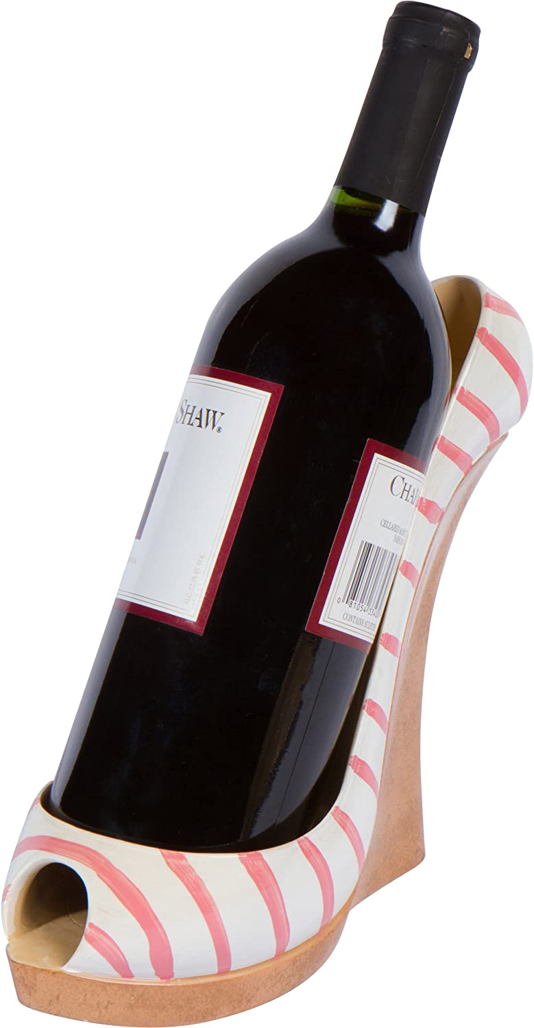 "7.8"" x 7""H Wedge High Heel Wine Bottle Holder - Stylish Conversation Starter Wine Rack By Hilarious Home (Pink Stripe)"