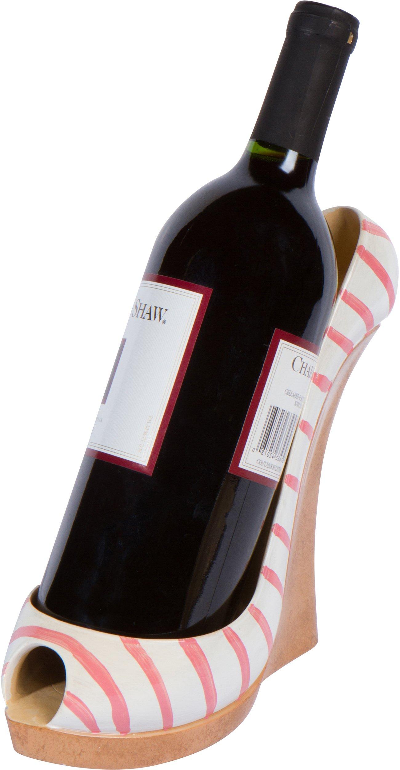7.8'' x 7''H Wedge High Heel Wine Bottle Holder - Stylish Conversation Starter Wine Rack By Hilarious Home (Pink Stripe)