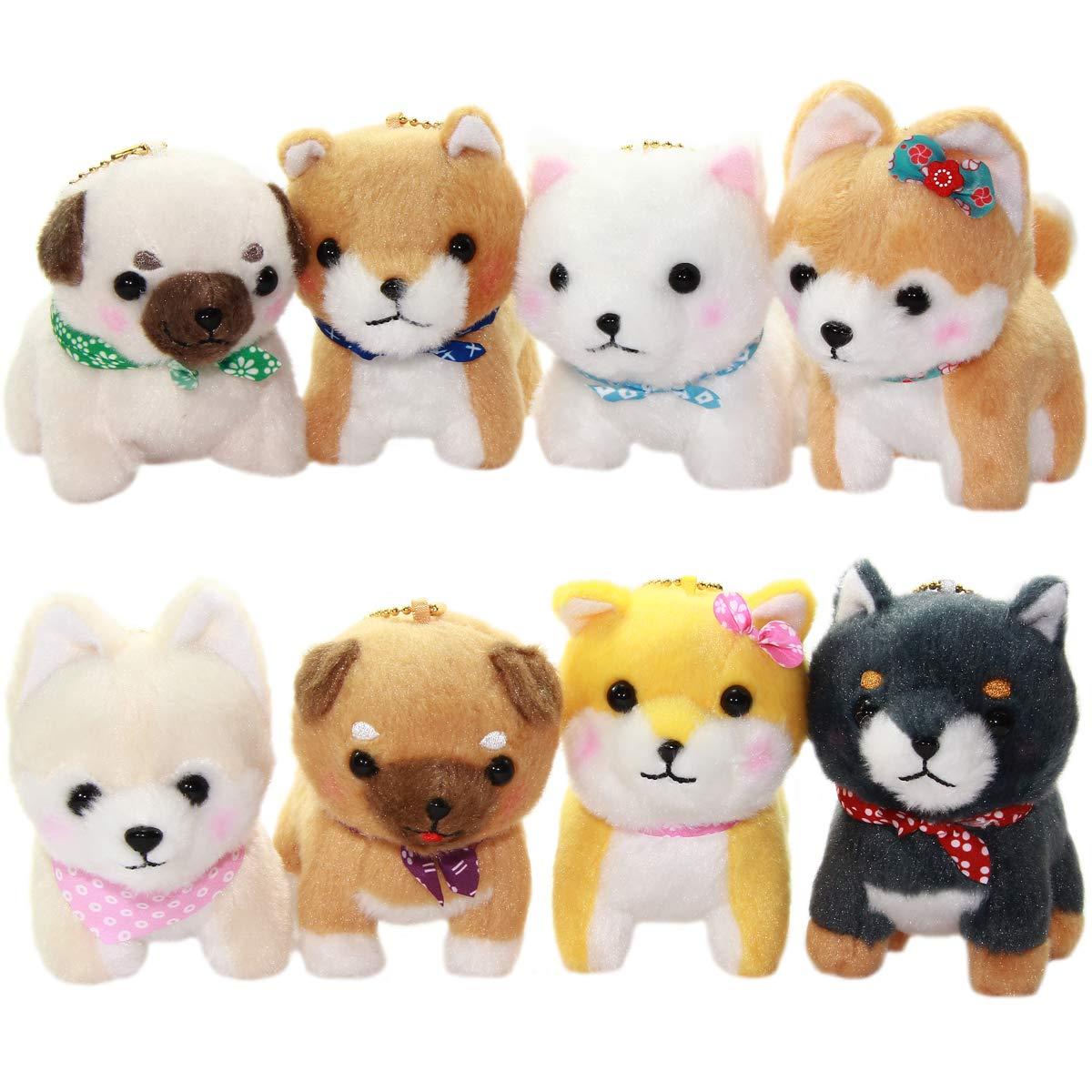 Amuse Black Dog Plush Doll Stuffed Animal Keychain Mamejiro Ball Chain Size