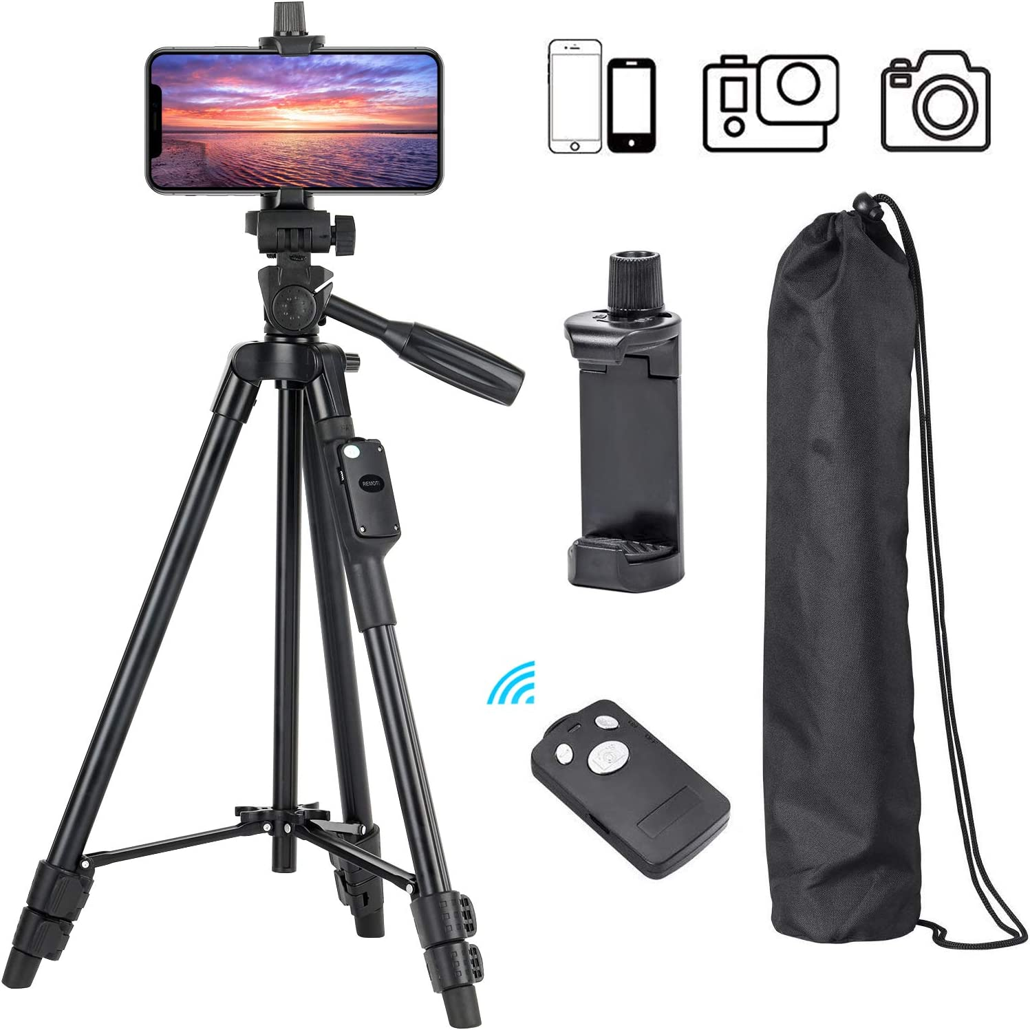 "Phone Tripod, Eocean 50"" Extendable Aluminum Tripod Stand with Phone Holder Mount & Remote, Video Tripod for Cellphone, Camera, Compatible with iPhone/Android, Perfect for Vlogging, Live Streaming"