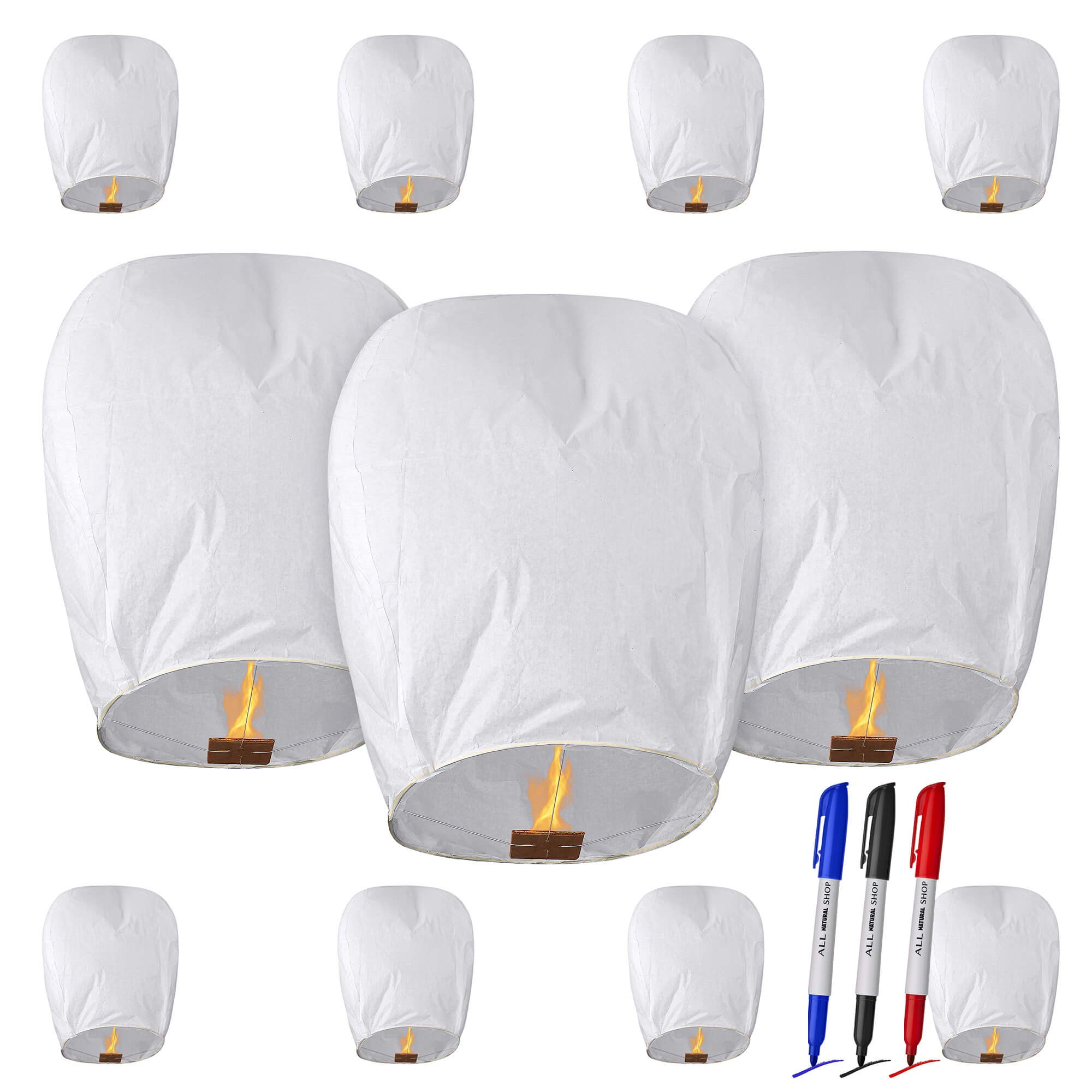 All Natural Shop 11 Pack White Chinese Sky Lanterns to Release in Sky - Eco Friendly, 100% Biodegradable. Wire-Free Paper Japanese Prime Lantern by All Natural Shop