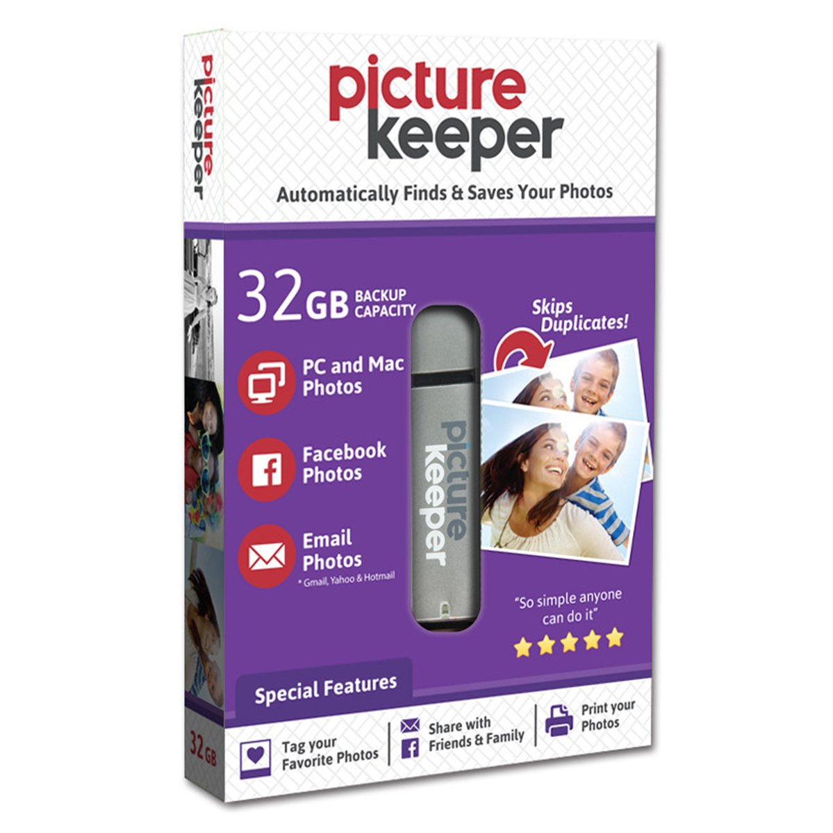 Picture Keeper 32GB Portable Flash USB Photo Backup and Storage Device for PC and MAC Computers by Picture Keeper