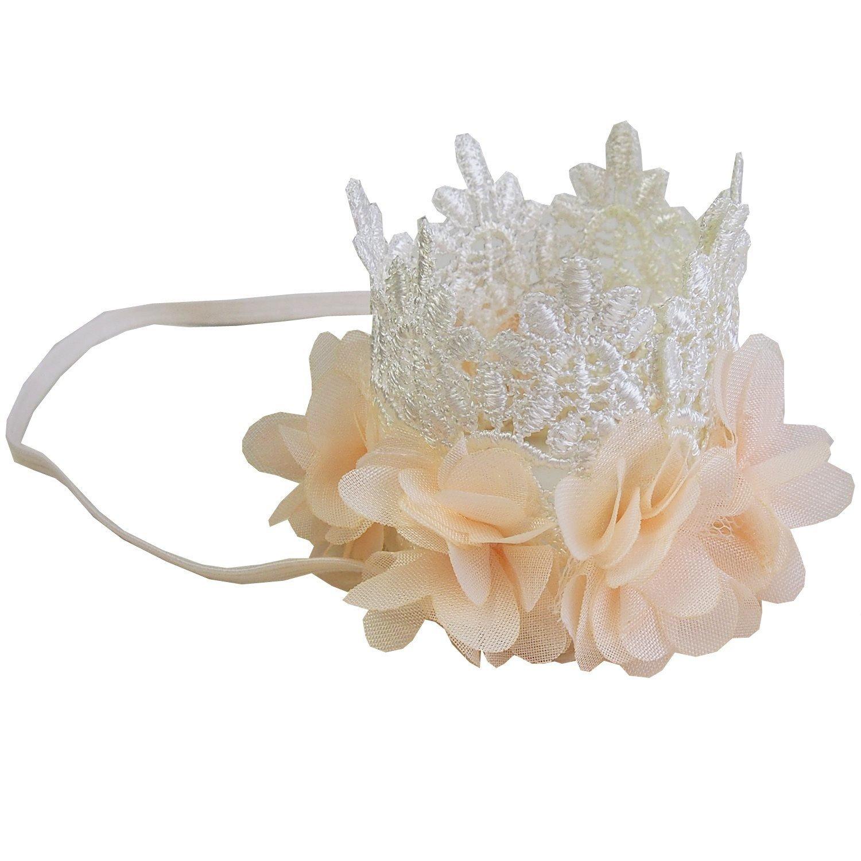 Amazon Baby Flower Lace Crown Headband Cream Clothing