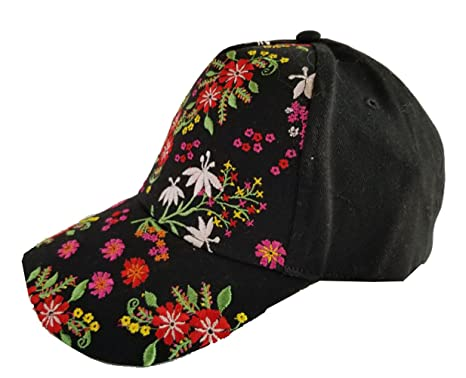 b48b0de33 TOP HEADWEAR Floral Embroidery Baseball Cap - Black at Amazon ...
