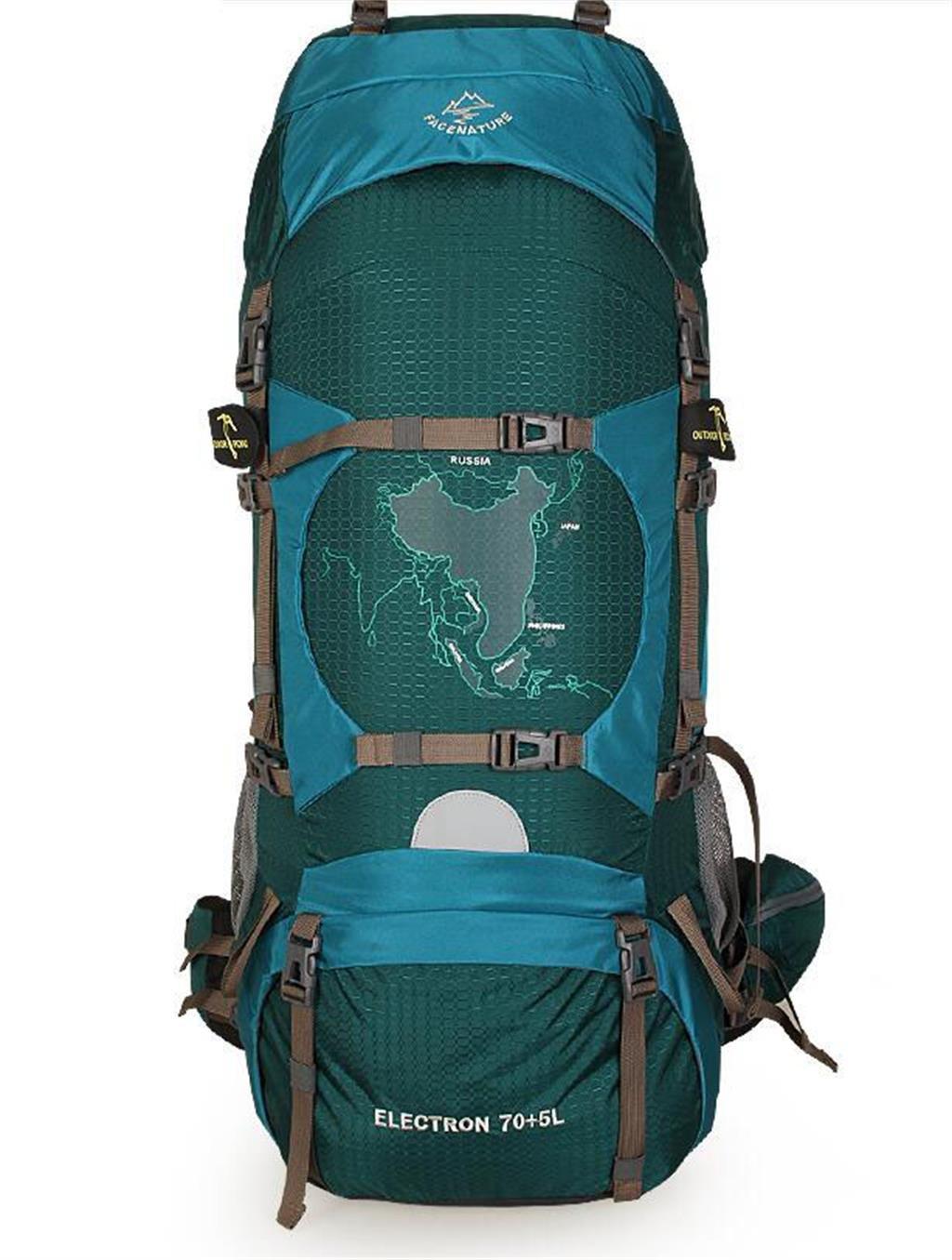 ハイキングバッグ プロフェッショナルキャンプ屋外のバックパックの男性と女性が登山防水ショルダーバッグ70L旅行ハイキング ハイキングバックパック (色 : The Dark Green, サイズ さいず : 75L) 75L The Dark Green B07NKGB2BK