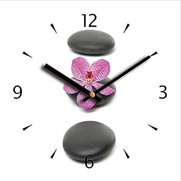 Horloge murale silencieuse en verre déco galet zen...: Amazon.fr ...