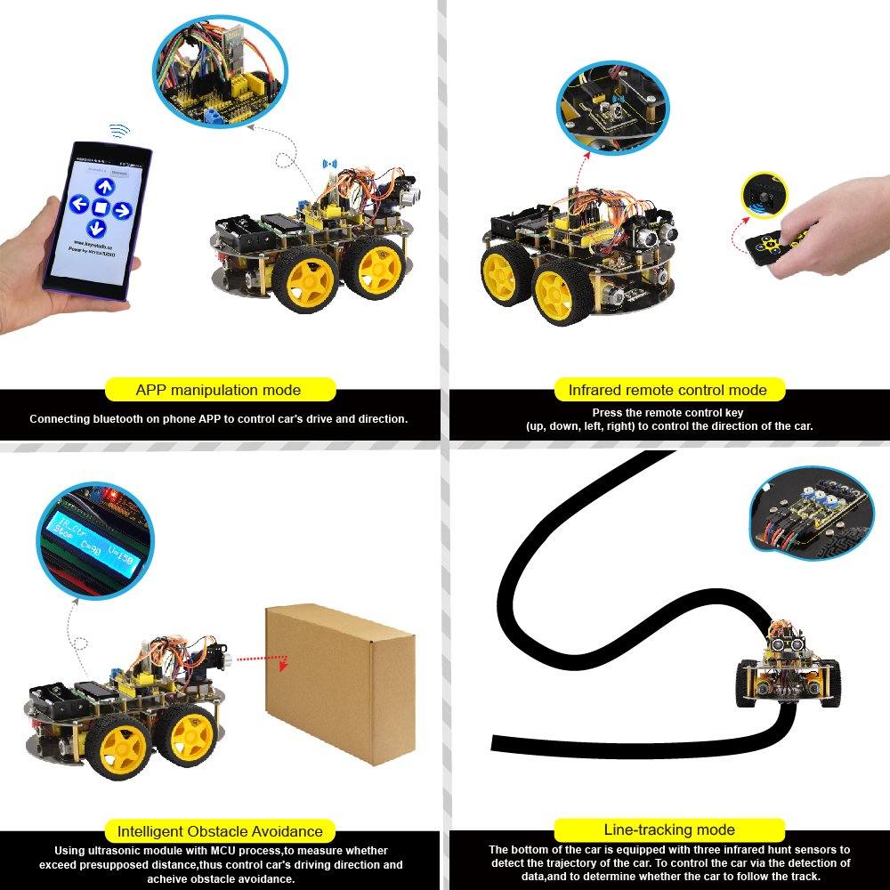 keyestudio Robot Kit for Arduino 4WD Bluetooth Multi-functional Smart Car Kit with UNO R3 and Tutorial, Stem Education Toy for Boys and Girls by KEYESTUDIO (Image #4)