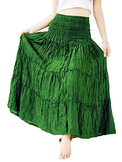 31e814be2 Image Unavailable. Image not available for. Color: Siam Secrets Women's  Ruffle Long Skirt Gypsy Summer Dress 100% Rayon Green