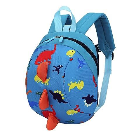 Bolso, Manadlian Niños niñas Mochila de animales Patrón de dinosaurio Bolsa para la escuela (20cm(L)/26cm(H)/12cm(W), Azul)