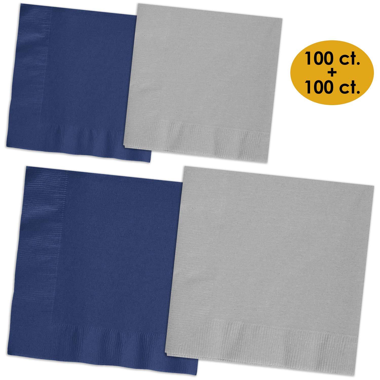 200 Napkins - Navy blue & Shimmering Silver - 100 Beverage Napkins + 100 Luncheon Napkins, 2-Ply, 50 Per Color Per Type
