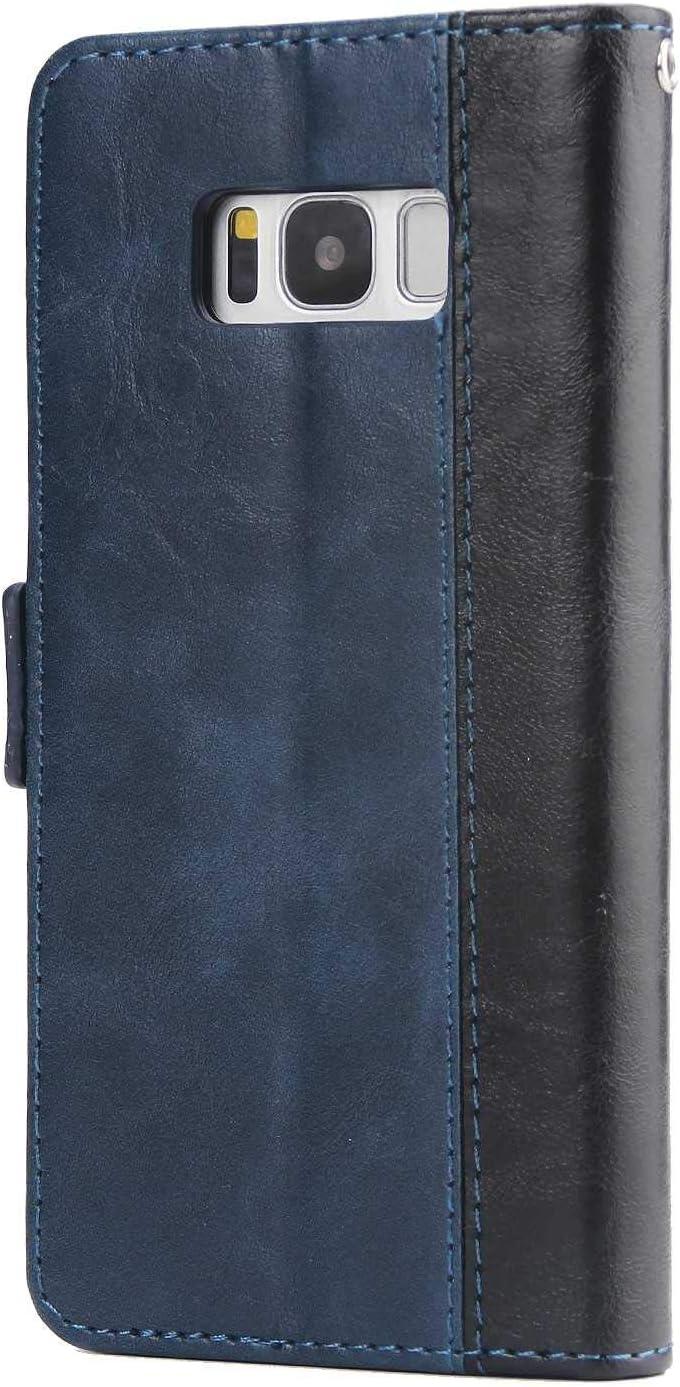 Coque Galaxy S8 Rouge SONWO Simple R/étro PU Cuir Flip Portefeuille de Protection Etui avec Rangements de Cartes et Fonction Stand pour Samsung Galaxy S8