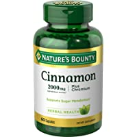 Nature's Bounty Cinnamon 2000mg Plus Chromium, 60 Count