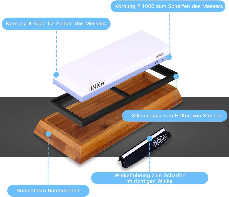 handgefertigter rutschfester Holz- und Gummiboden + Messerf/ührung Schleifanleitung 400//1000 /& 3000//8000 K/örnung Schleifstein Set