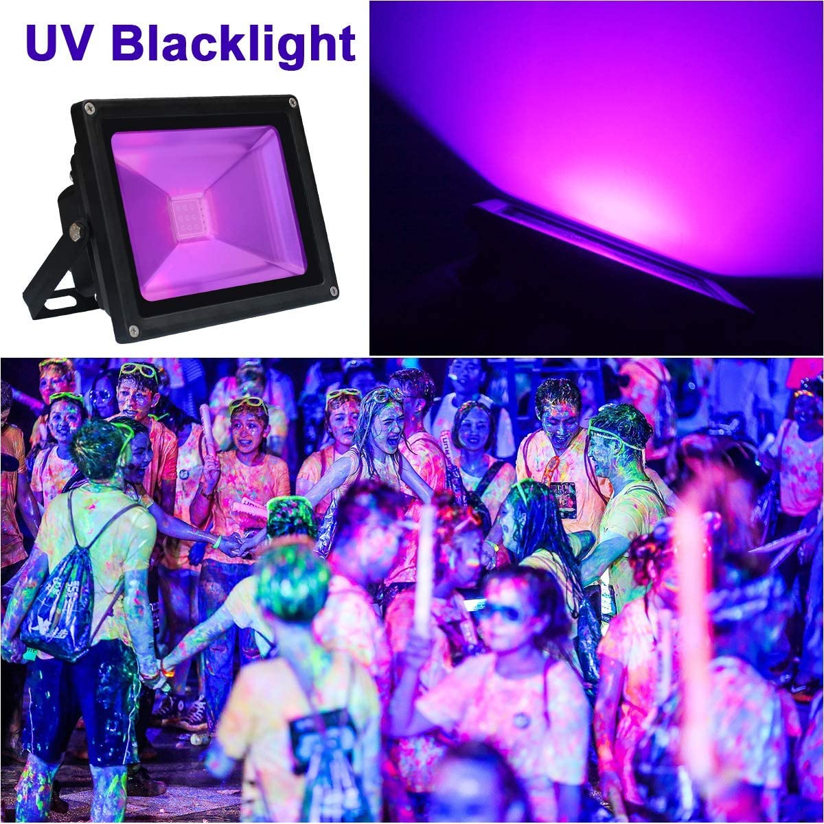 Glow in The Dark LANFU 2 Pack LED Black Light Aquarium High Power 60w LED Flood Light IP65-Waterproof 85V-265V AC for Blacklight Party Supplies Neon Glow Fishing Curing