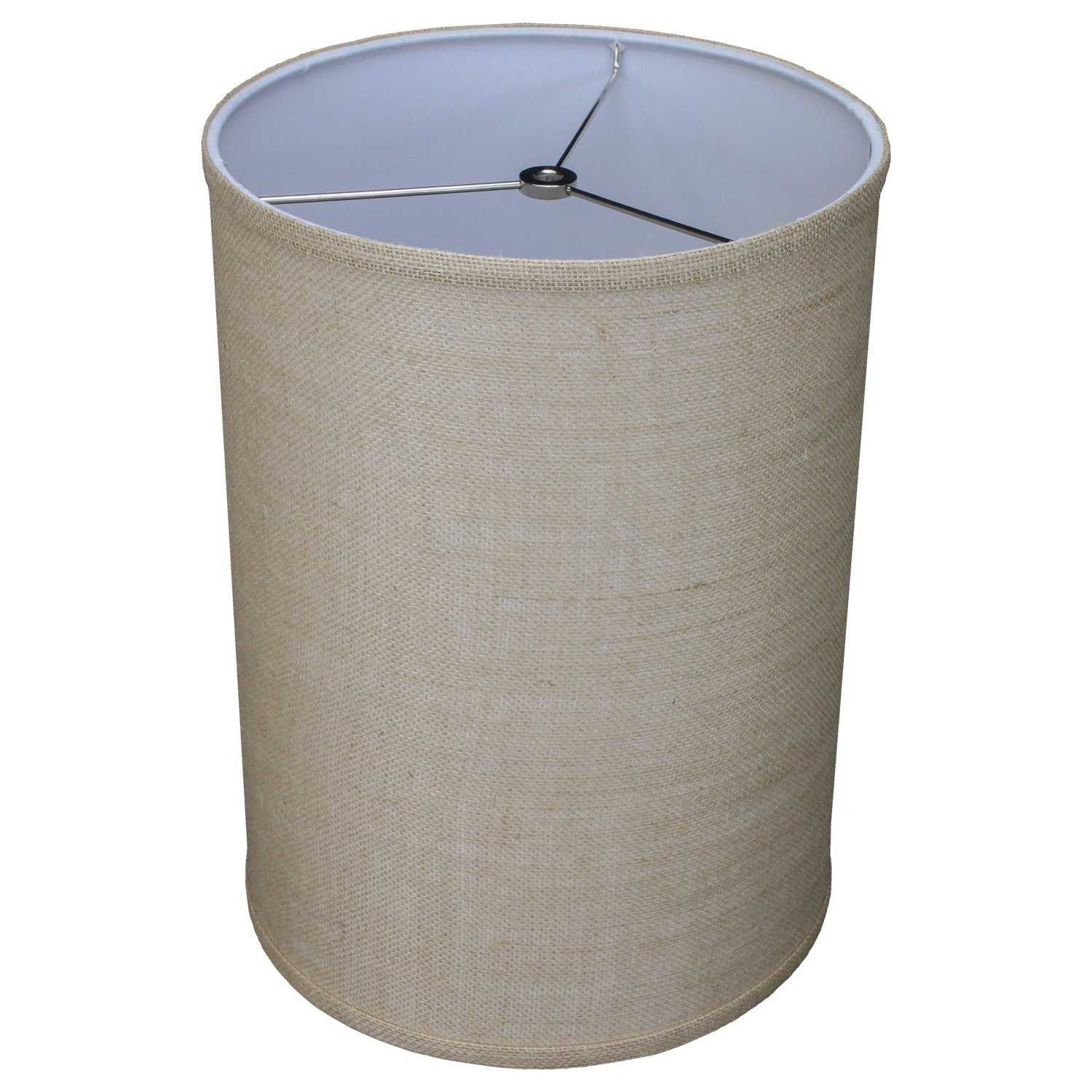FenchelShades.com 11'' Top Diameter x 11'' Bottom Diameter 15'' Height Cylinder Drum Lampshade USA Made (Burlap Natural) by FenchelShades.com