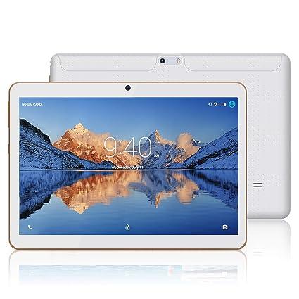 Tablets 10.1 Pulgadas Android 9.0 YOTOPT, Quad Core, 4GB de RAM, 48 GB de Memoria Interna, 3G Tablet, Dual SIM, WiFi/ Bluetooth/GPS/OTG - Blanco