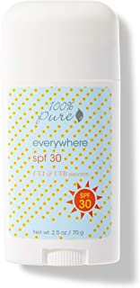 product image for 100% PURE Everywhere SPF 30 Body Stick, Natural Sunscreen Stick, Broad Spectrum UVA/UVB Protection, Perfect for Travel, Zinc Oxide Sunscreen - 2.5 Oz