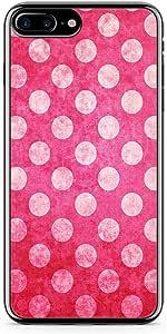 iPhone 7 Plus Transparent Edge Phone Case Pink Polka Dots Phone Case Pink Elegant iPhone 7 Plus Cover with Transparent Frame