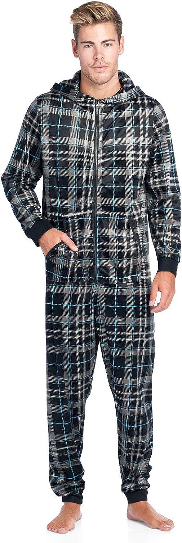 Ashford /& Brooks Mens Mink Fleece Hooded One-Piece Union Suit Pajamas