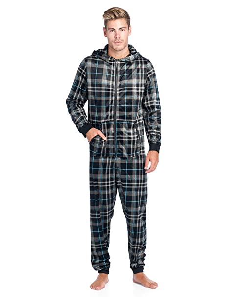 4bbc5e02e Ashford & Brooks Men's Adult Mink Fleece Hooded One-Piece Union Suit Pajamas  - Black