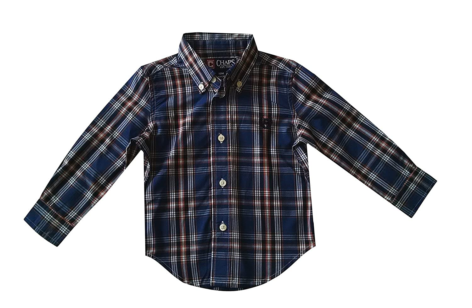 Chaps Baby Boys Plaid Button Down Long Sleeve Shirt Size - 18 Months Blue