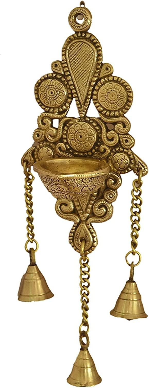 Aakrati Wall Hanging Deepak Also as Candle Stand with Bells Made of Brass Metal - Wall Decor Indian showpiece for Gift -Total Height 11 inch