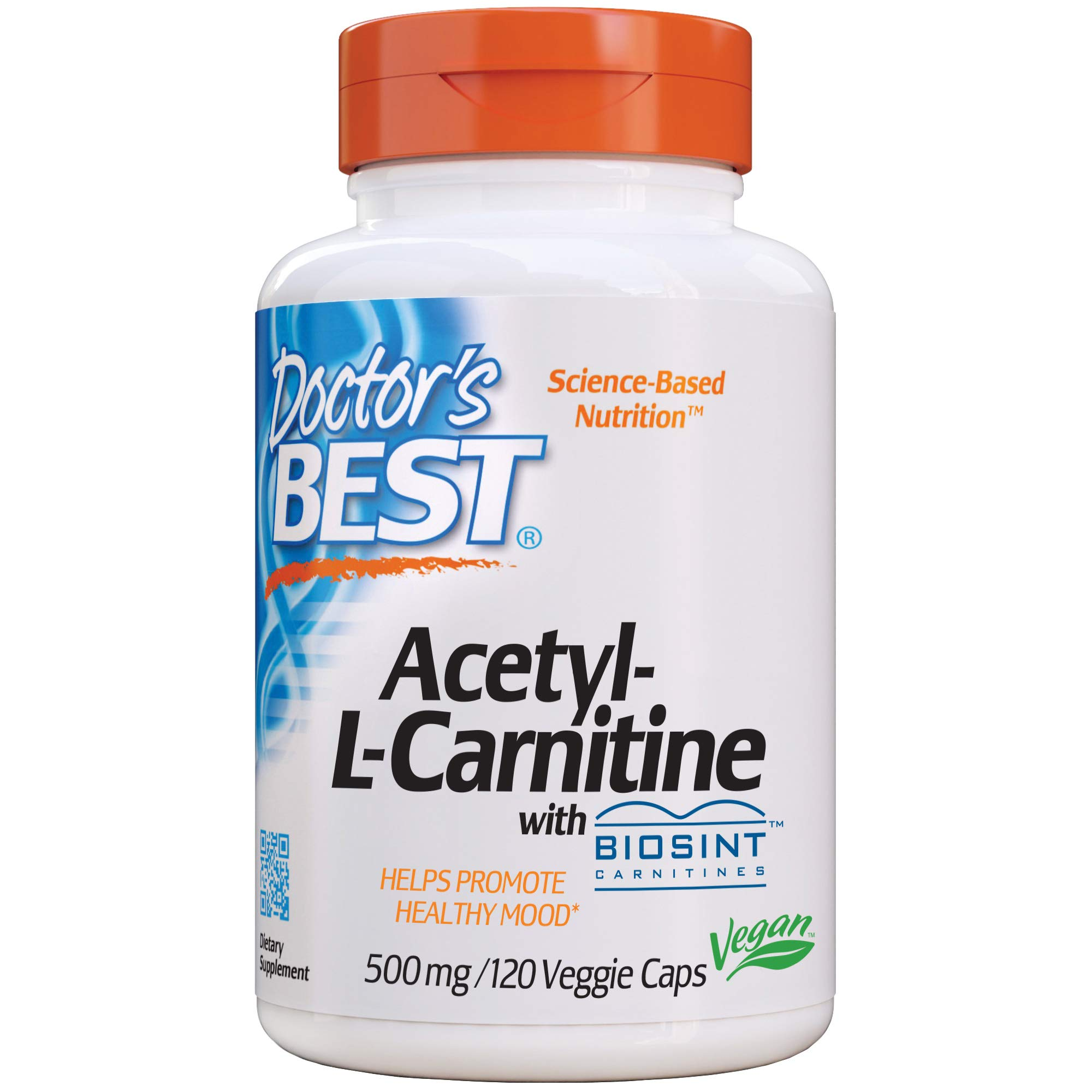 Doctor's Best Acetyl L-Carnitine, Help Boost Energy Production, Support Memory/Focus, Mood, Non-GMO, Vegan, Gluten Free, 120 Count (Pack of 1) (DRB-00152)