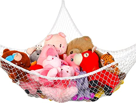 Toy Hammock Gray, 70 inch Meirenda Kids Sling Wall Mesh Corner Toy Net Organizer for Stuffed Animals Stuffed Animal Hammock Jumbo Toy Net Storage