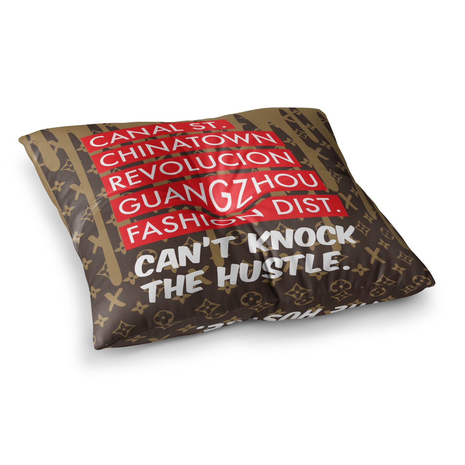 Kess InHouse Just L Cant Knock The Hustle BRN Red Urban 23 x 23 Square Floor Pillow