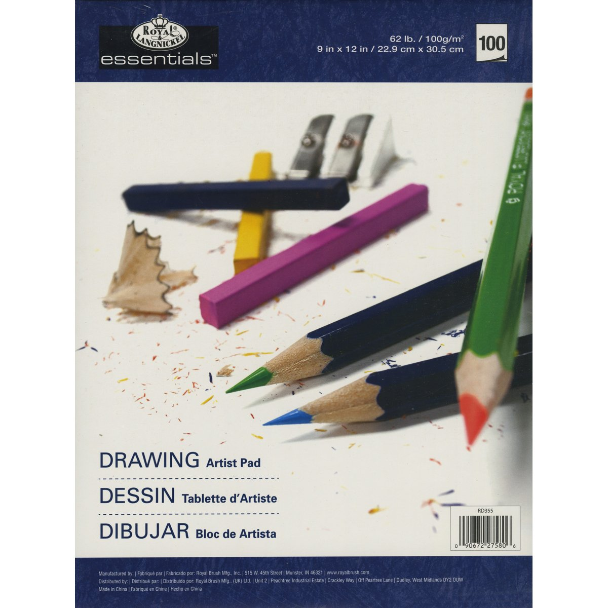 Royal Brush and Langnickel 100-Sheet Drawing Essentials Artist Paper Pad, 9-Inch by 12-Inch DOMAGRON RD35-5
