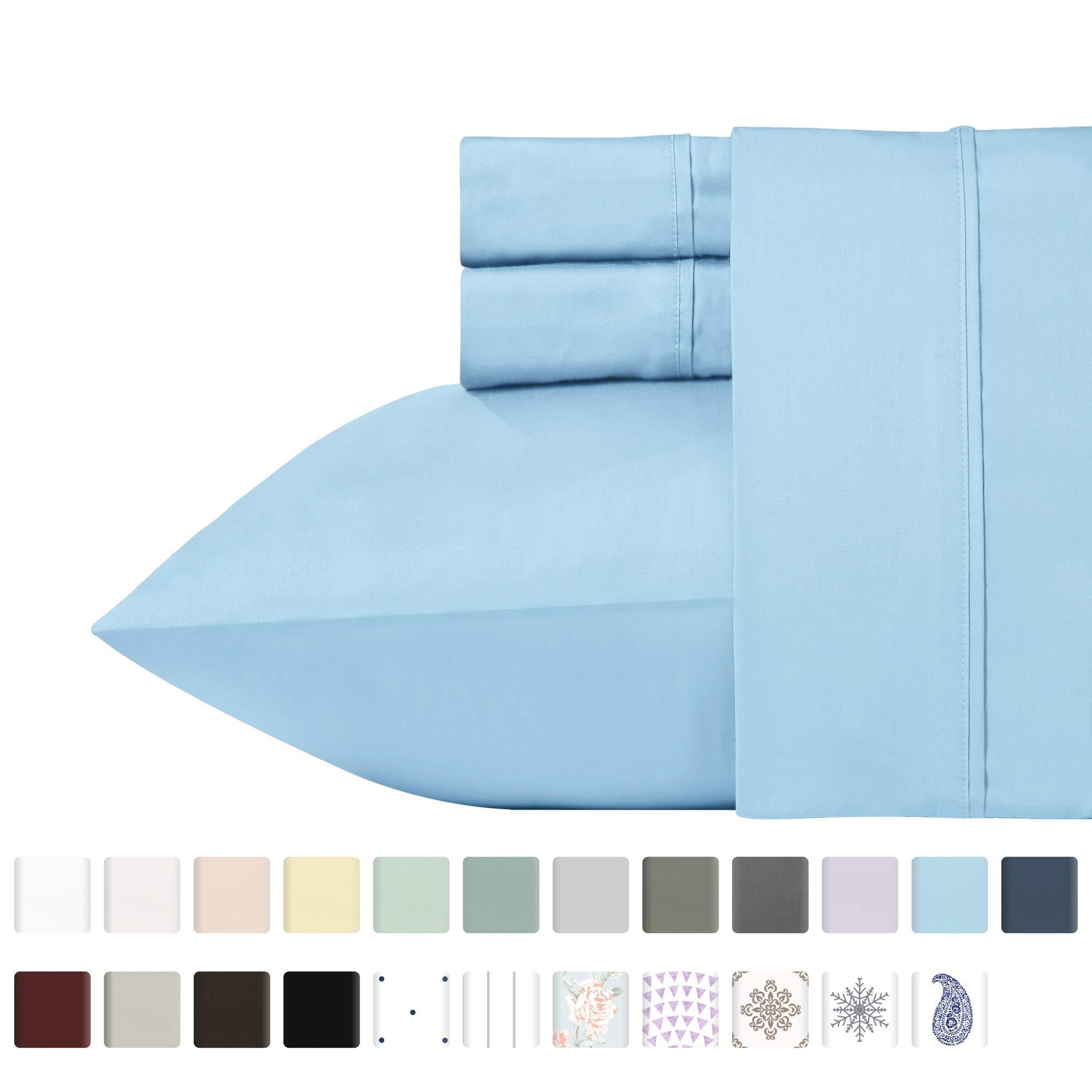 400 Thread Count Sheet Set, 100% Long-Staple Cotton (California King, Blue) by California Design Den