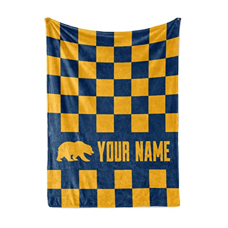 8c7b22f26ac Custom UC Cal Berkeley Colors Themed Custom Fleece Throw Blanket -  Personalized University of California Golden Bears College Football  Basketball Apparel