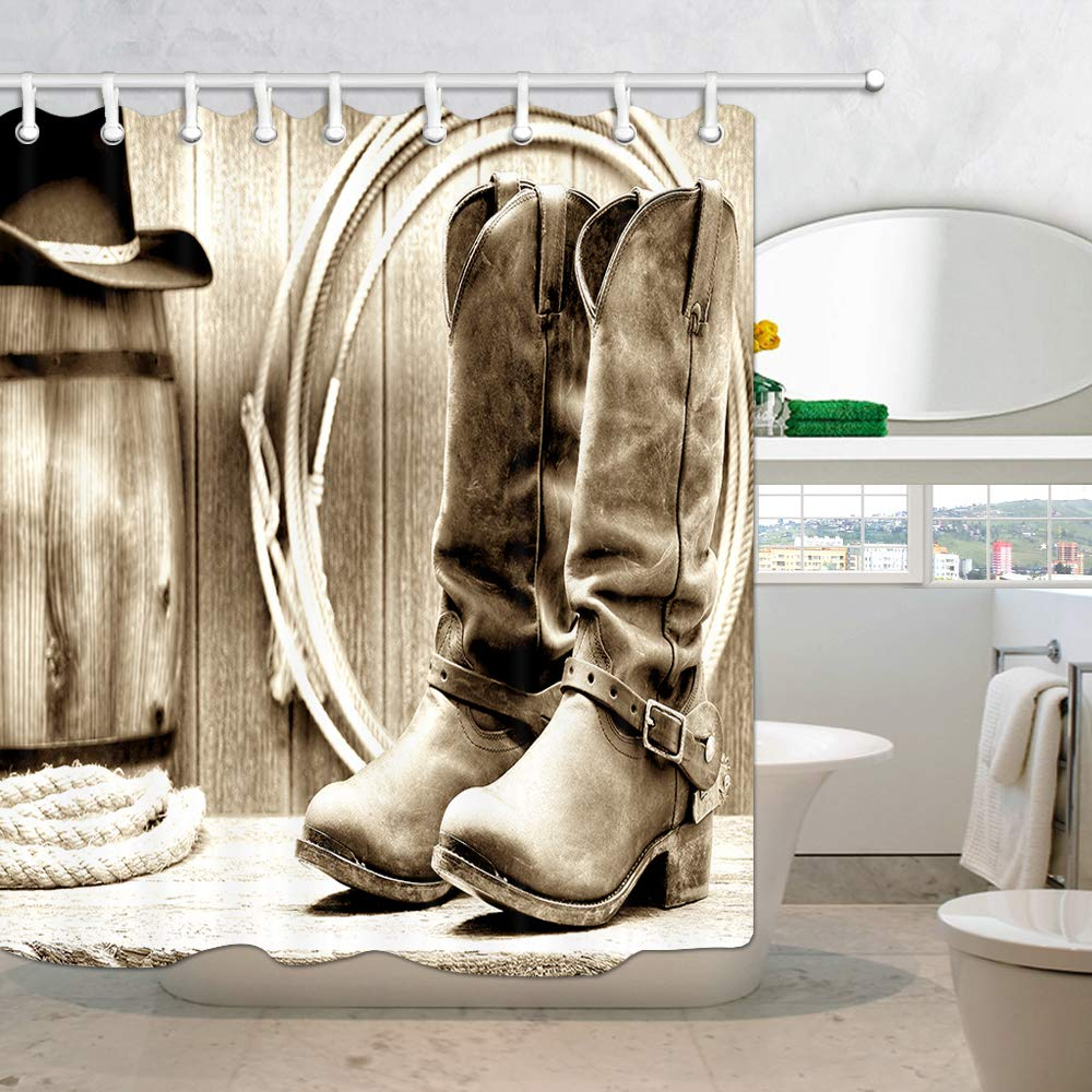 American Traditional Sports Team Cowboy Saddle Wood Ranch Barn Western Shower Curtain 69X70in Fabric Bathroom Curtain With 15.7x23.6in Flannel Non-Slip Floor Doormat Bath Rugs