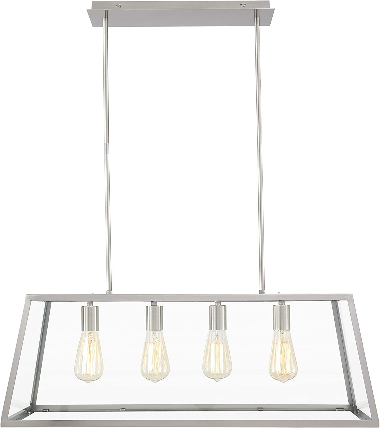 Light Society Morley 4-Light Kitchen Island Pendant, Satin Nickel Shade with Clear Glass Panels, Modern Industrial Chandelier (LS-C104-SN)