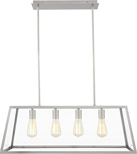 Light Society Morley 4-Light Kitchen Island Pendant, Satin Nickel Shade with Clear Glass Panels, Modern Industrial Chandelier LS-C104-SN