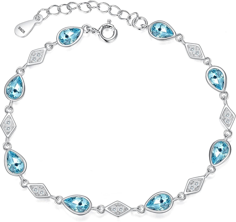 fanze de la mujer plata de ley 925Circonita Forma de diamante lágrima Enlace Pulsera aguamarina Color hecho con cristales
