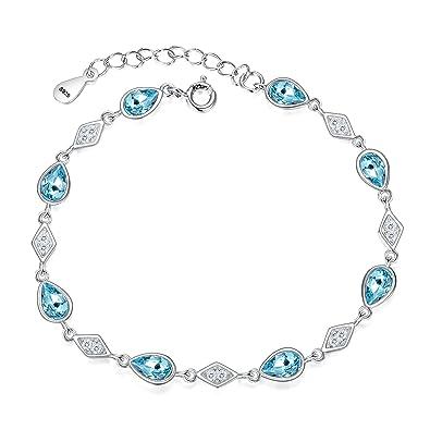 e82676291269 FANZE Women s 925 Sterling Silver Cubic Zirconia Diamond Shape Teardrop Link  Bracelet Aquamarine Color Made with Swarovski Crystal  Amazon.co.uk   Jewellery
