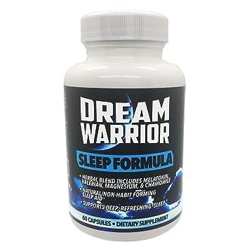Best Natural Sleep Aid - Dream Warrior - 60 Capsule Herbal Sleeping Pills w/ Melatonin